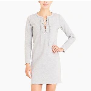J. Crew Mercantile Gray knit lace-up dress